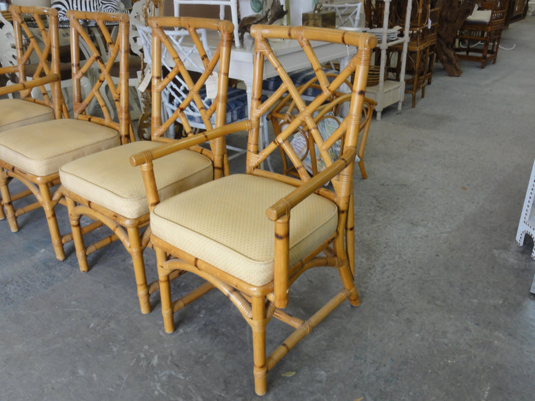 Set of 4 Rattan Chippendale Chairs