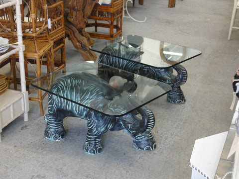 Large Pair of Plaster Elephant Side Tables
