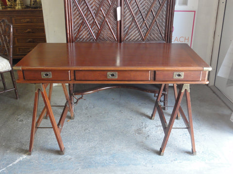Handsome Saw Horse Campaign Style Desk