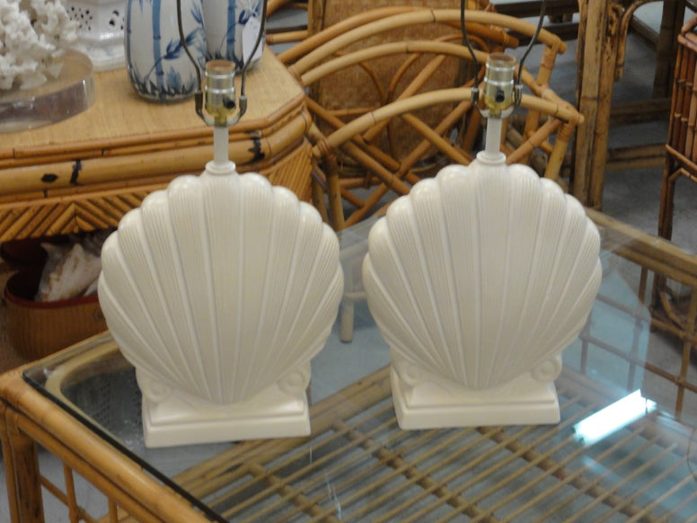 Pair of Plaster Clam Shell Lamps