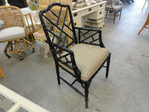 Black Faux Bamboo Chippendale Chair