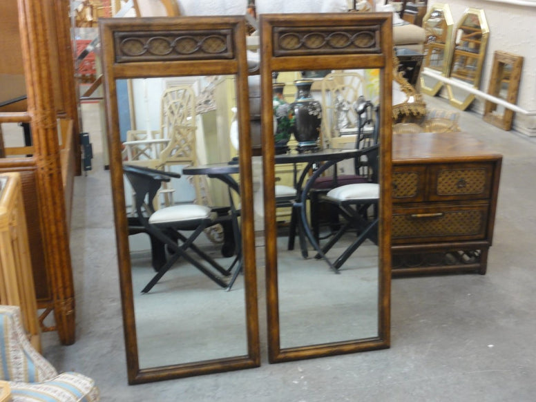 Pair of Rattan & Cane Mirrors