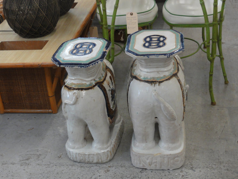 Glazed Terra Cotta Elephant Garden Seats