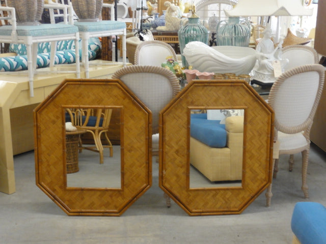 Pair of Woven Rattan Faux Bamboo Mirrors