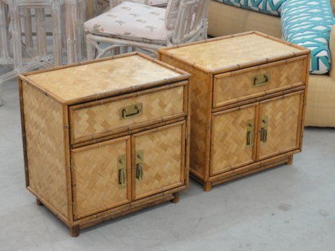 Pair of Woven Rattan Faux Bamboo Nightstands