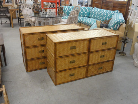 Woven Rattan Faux Bamboo Chest