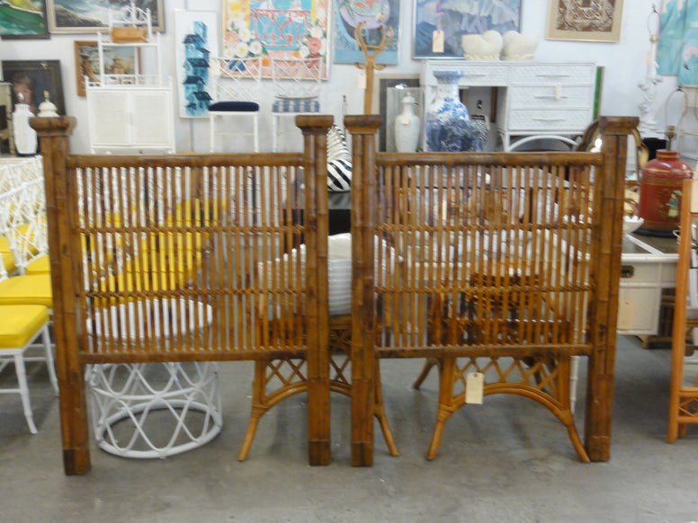 Pair of Tortoise Shell Bamboo Twin Headboards