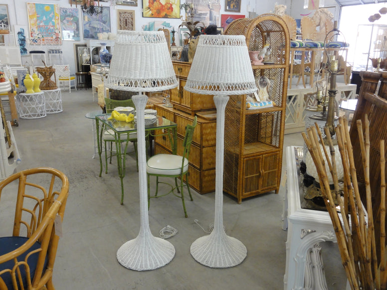 Pair of Newly Lacquered Wicker Floor Lamps