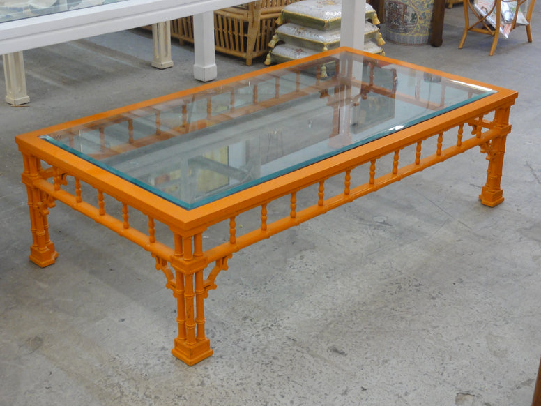 Large Lacquered Faux Bamboo Coffee Table