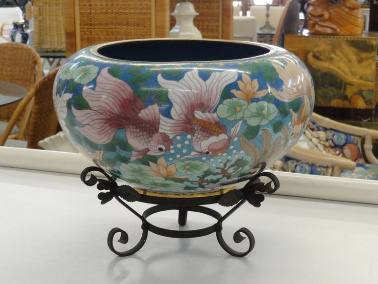 Chic Cloisonne Fish Cache Pot