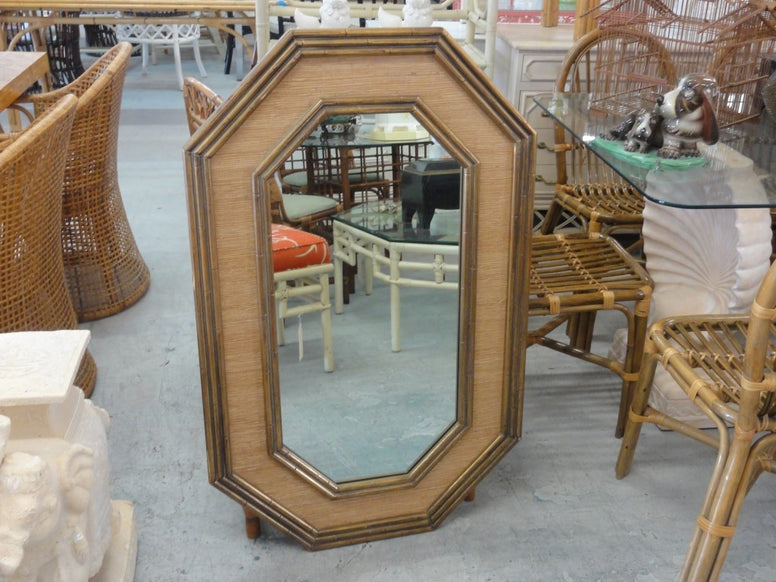 Faux Bamboo & Seagrass Mirror