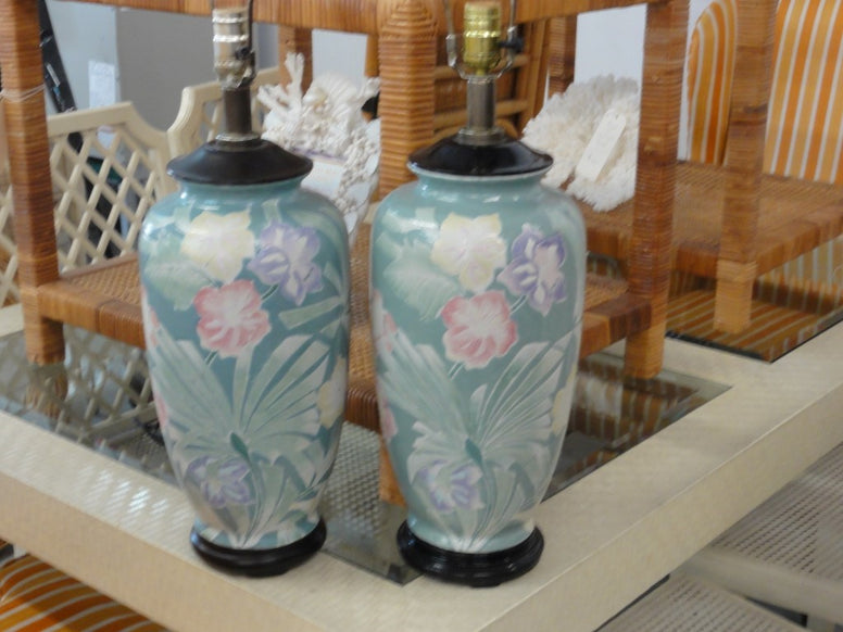 Pair of Tropical Palm & Flower Lamps