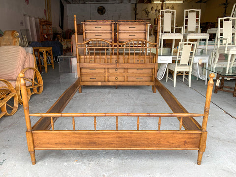 Thomasville Faux Bamboo Four Post Queen Bed