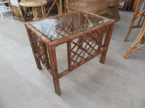 Ficks Reed Diamond Pattern Side Table