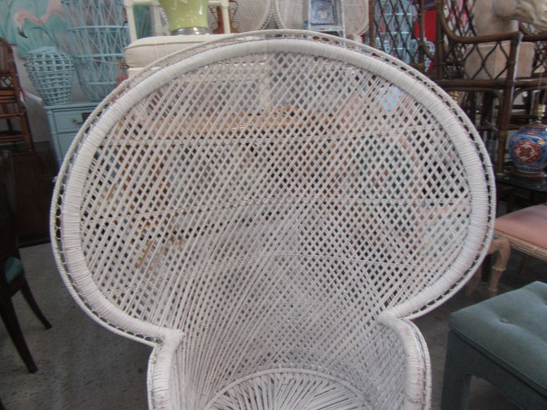 Petite Painted Rattan Fan Chair