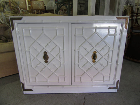 Faux Bamboo Hollywood Regency Cabinet
