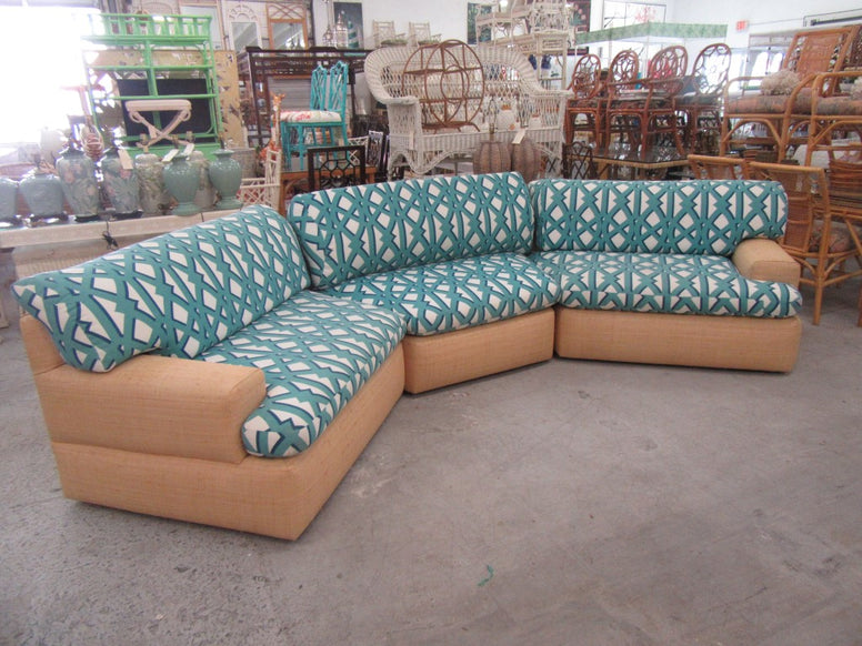 3 Piece Upholstered Seagrass Sectional