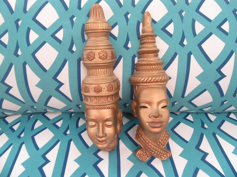 Pair of 50's Polynesian Wall Heads