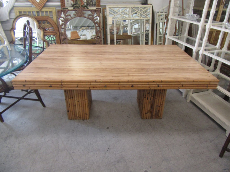 1970's Double Pedestal Bamboo Table