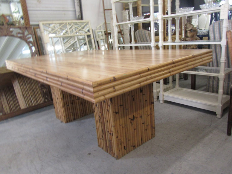 Island Style Rattan Glass Top Dining Table