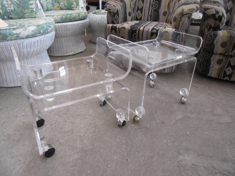 Pair of Pagoda Lucite Stools