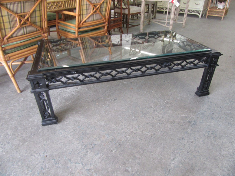 Large Hollywood Regency Fretwork Coffee Table