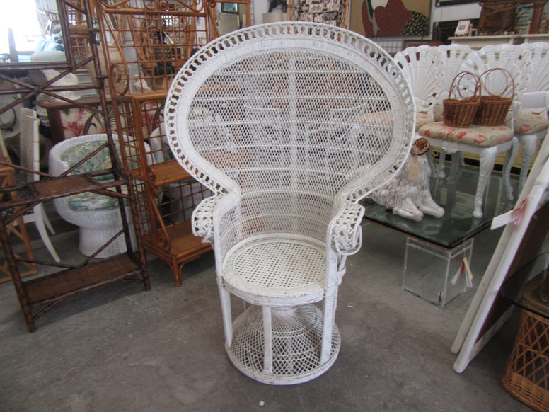 White Wicker and Cane Fan Chair