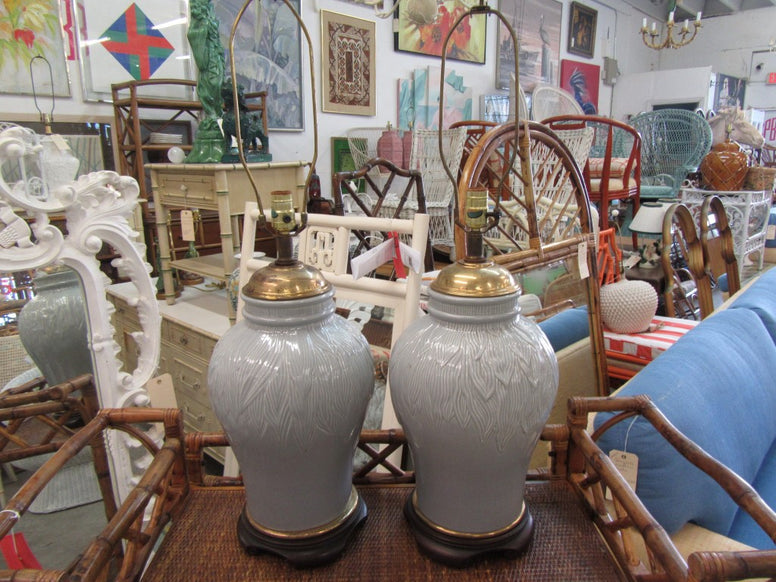 White Ceramic Ginger Jar Lamps