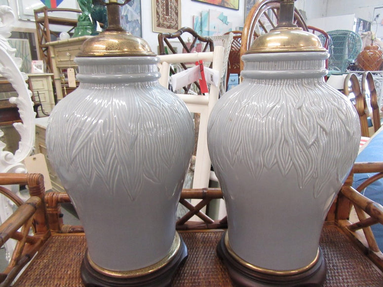 Pair of Ceramic Blue Roche Lamps