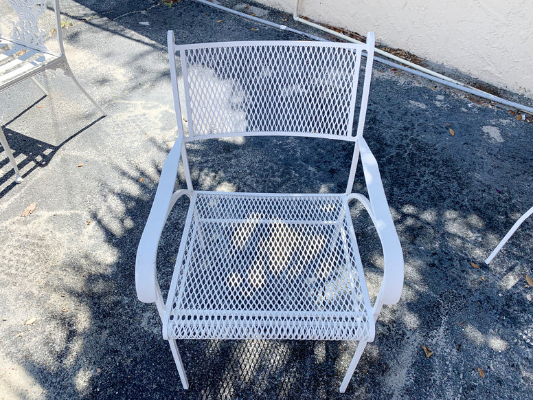Pair of Diamond Pattern Patio Chairs