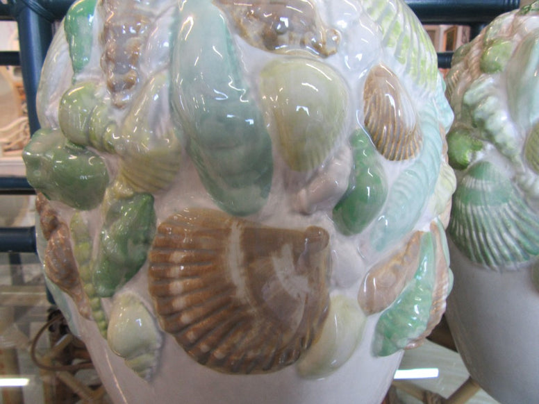 Pair of Ceramic Sea Shell Lamps