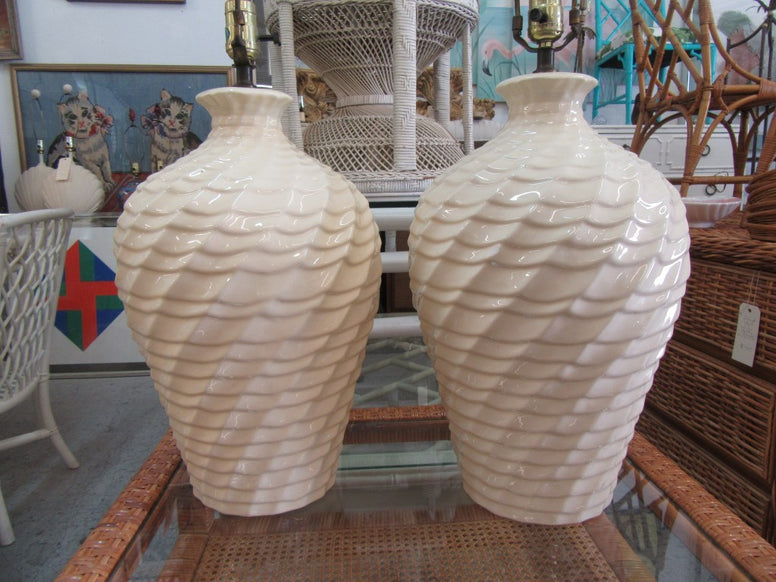 Pair of Harris 1988 Twisted Ceramic Lamps
