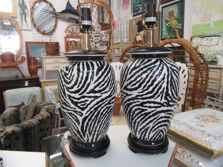 Pair of Zebra Pattern Lamps