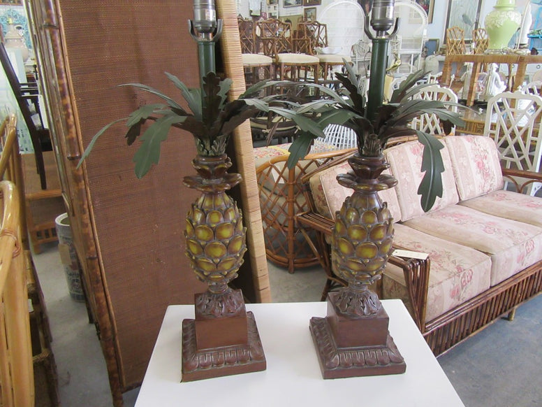 Pair of Tole Palm Tree Lamps