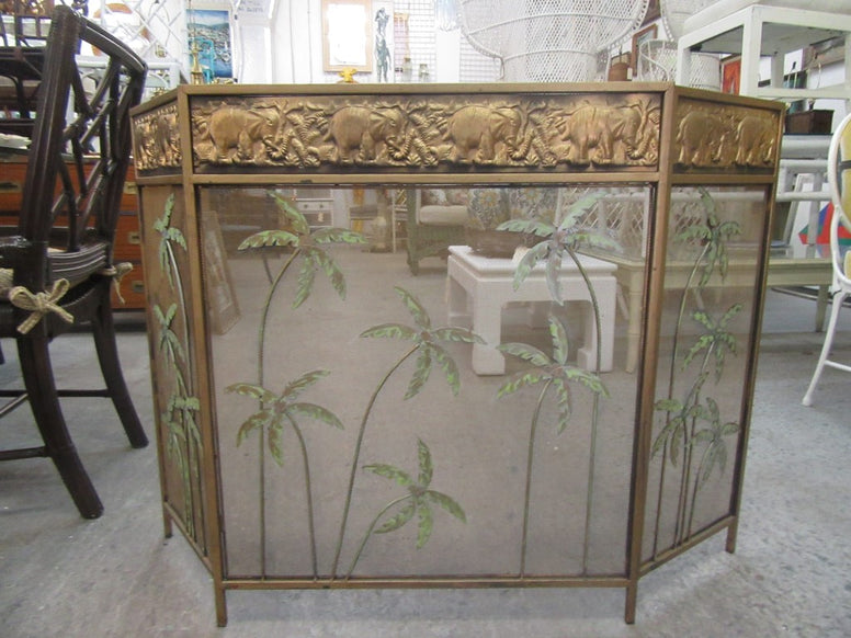 Tropical Palm Tree Elephant Fireplace Screen