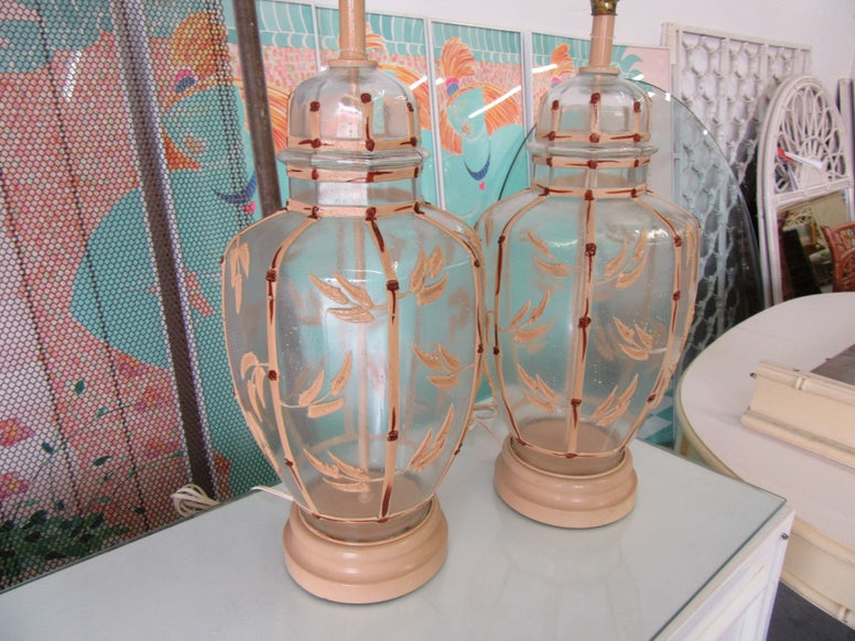 Pair of Faux Bamboo Icing Lamps