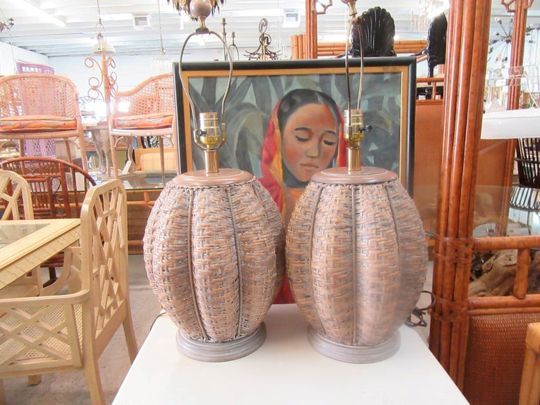 Pair of Woven Caged Island Style Lamps