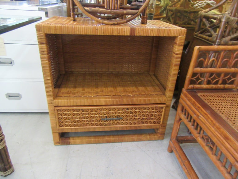 Woven Rattan Single Drawer Side Table