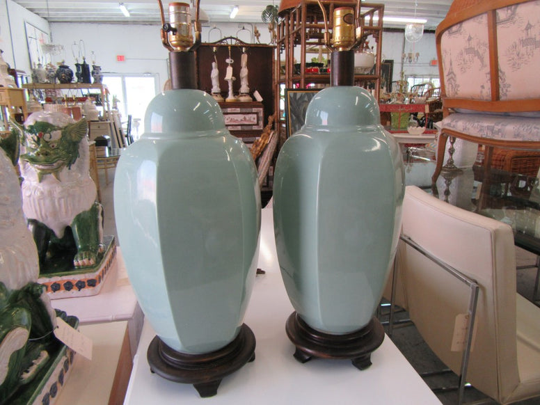 Pair of Sea Glass Green Ceramic Lamps