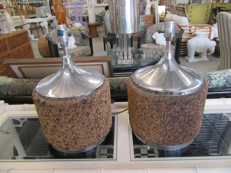 Pair of Cork & Chrome MCM Lamps