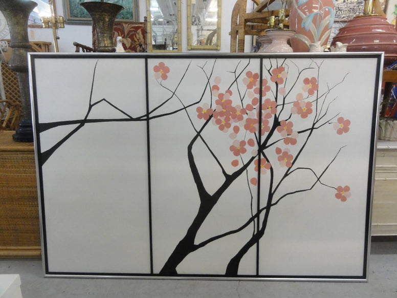 Large Vintage Cherry Blossom Painting