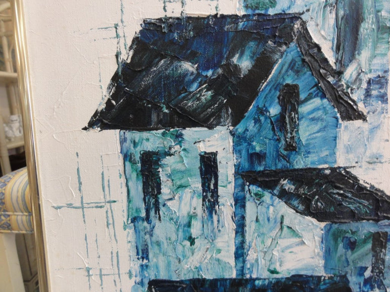 Signed Mid Century Blue House Painting