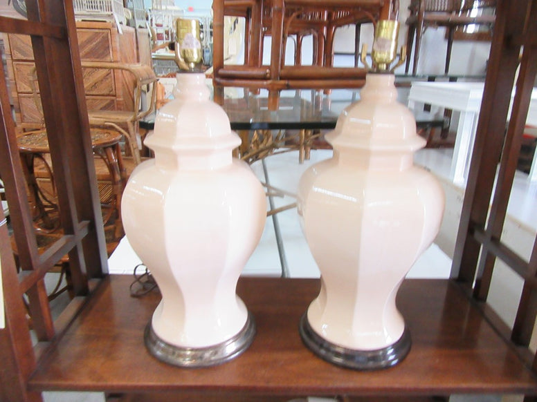 Pair of Ivory Glazed Lamps
