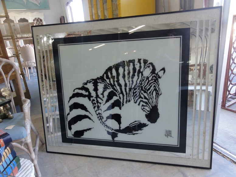 Reverse Painted Zebra Painting