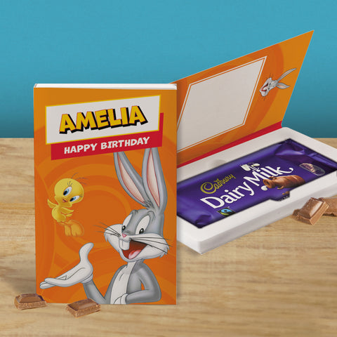 Personalised Looney Tunes Cadbury Dairy Milk Chocolate Card-OurPersonalisedGifts.com