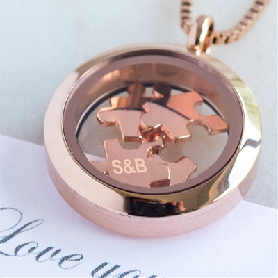 Personalised Love You To Pieces Rose Gold Necklace-OurPersonalisedGifts.com
