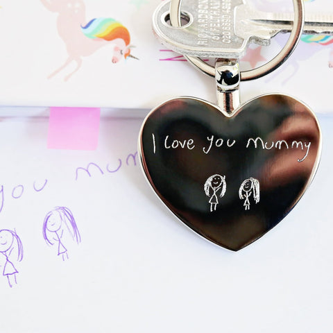 Own Handwriting Engraved Hearts Forever Keychain-OurPersonalisedGifts.com