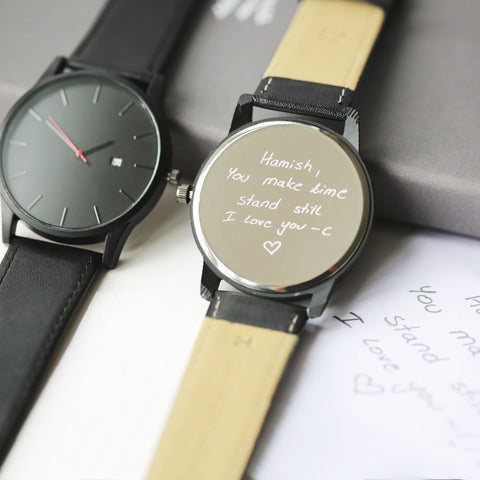 Own Handwriting Engraved Men's Black Watch-OurPersonalisedGifts.com