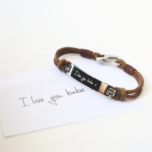 Own Handwriting Engraved Men's Leather Tan Bracelet-OurPersonalisedGifts.com