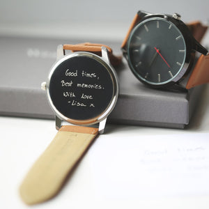 Own Handwriting Engraved Men's Tan Watch-OurPersonalisedGifts.com